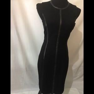 Trina Turk NWT Black/black leather trim dress Sz 2